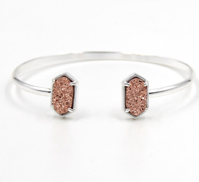 Copper Small Oval Quartze Resin Cuff Bangle