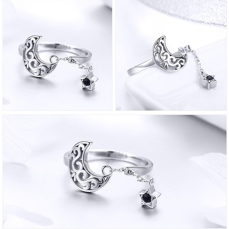 Moon And Star Long Chain Star Adjustable Finger Ring