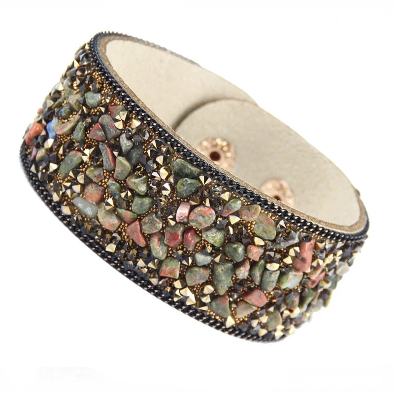 Fashion Leather Stone Wrap Cuff Bracelet With Crystal Rhinestones