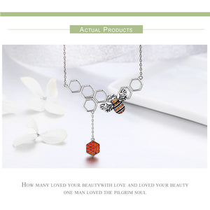Insect Bee Honeycomb Pendant Necklace
