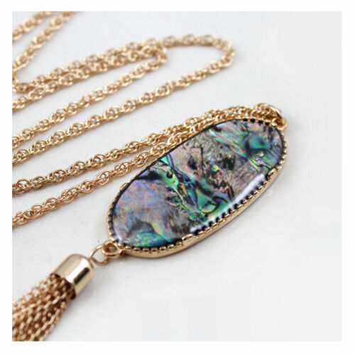 Long Shell Oval Design Necklace