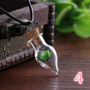 Dried Flower Necklace, Water Drop Bottle Necklace