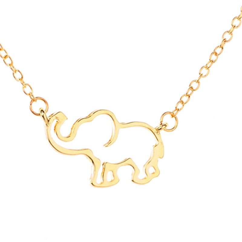Stainless Steel Gold Chain Origami Elephant Pendant Necklaces