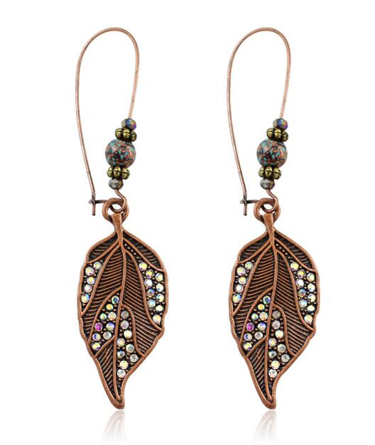 Ethnic Vintage Leaf Rustic Drop Dangle Earrings