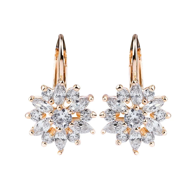 Luxury Flower Stud Earrings with Zircon Stone
