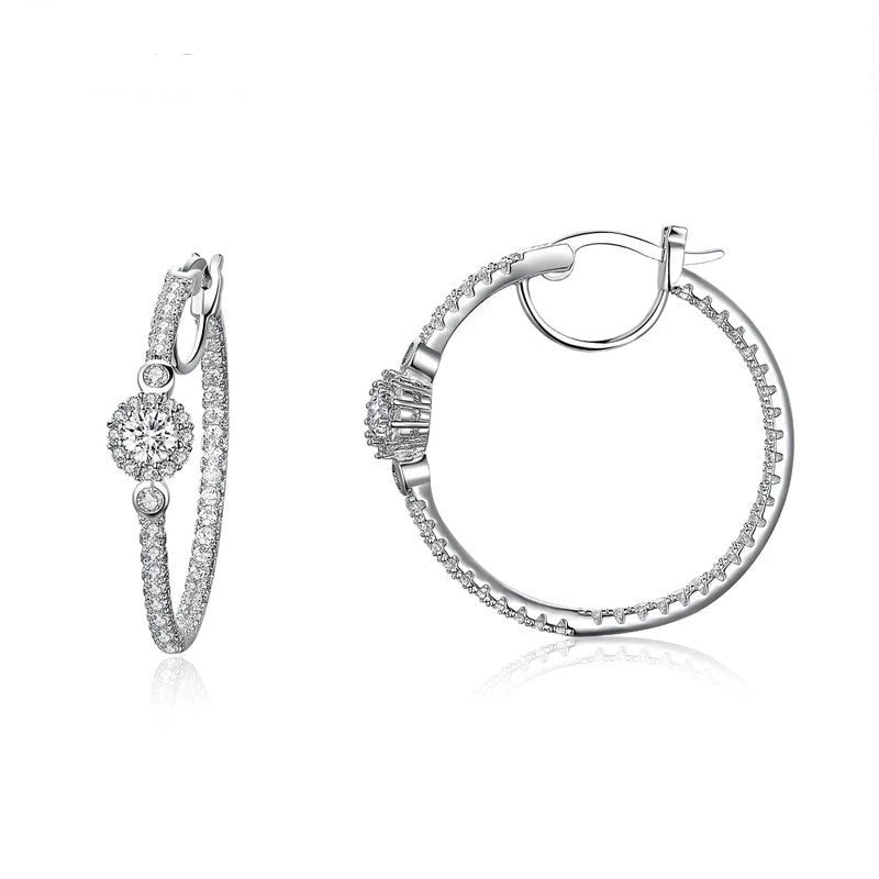 Silver Color Hyperbole Big Round Circle Clear CZ Cubic Zircon Stud Earrings