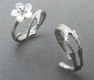 White Cherry Blossom Silver Ring