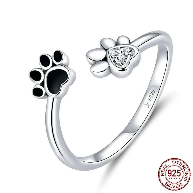 Black Enamel Dog Paw Open Adjustable Finger Rings