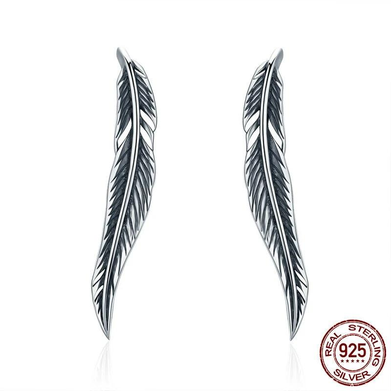 Vintage Feather Wings Cuff Drop Earrings