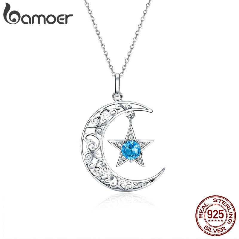 Silver Sparkling Moon And Star Necklaces Pendant