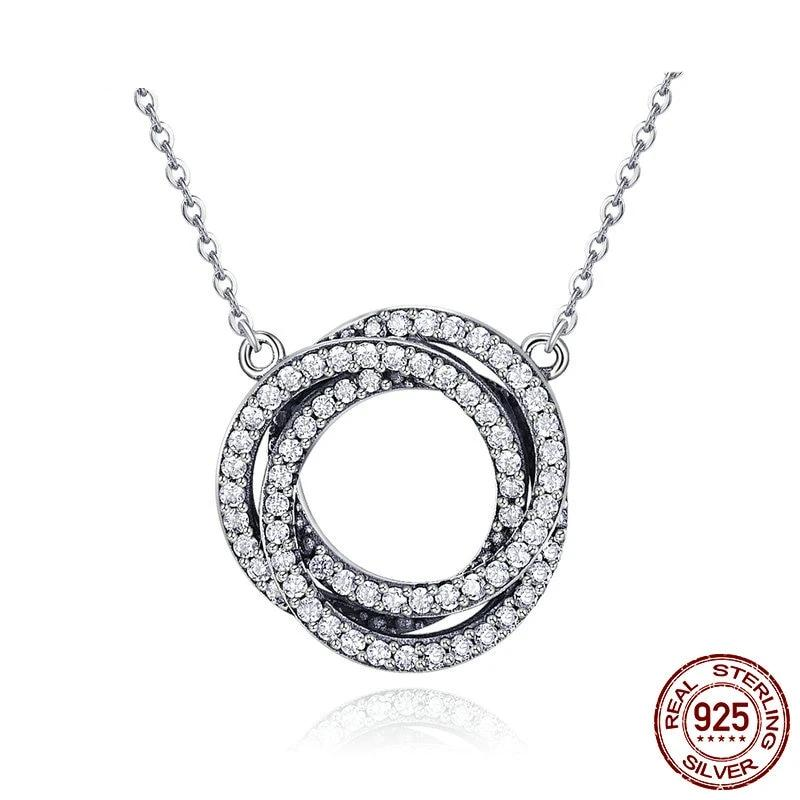 Minimalism Elegant Round Circle Clear CZ Pendant Necklace