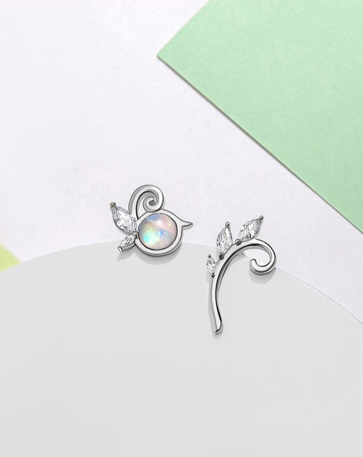 Crystal Gemstone Silver Fairy Fruit Earrings Sterling Silver Earrings
