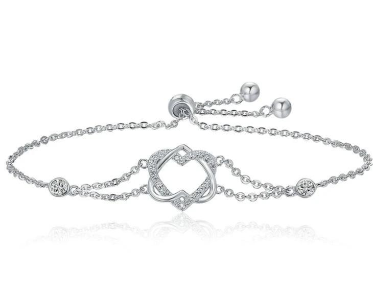 Silver Twisted Double Heart in Heart Chain Bracelets