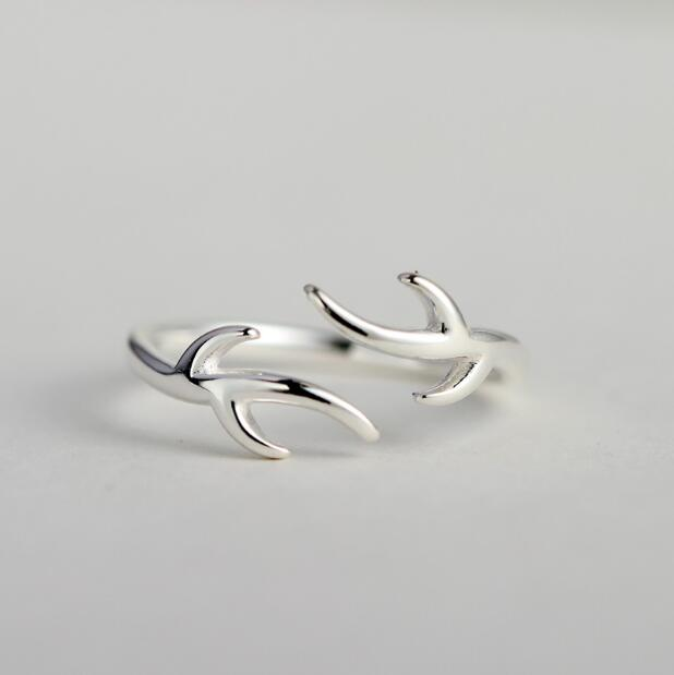 Silver Plated  Antler Ring