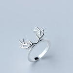 Elk Antlers Charm Simple Band Ring