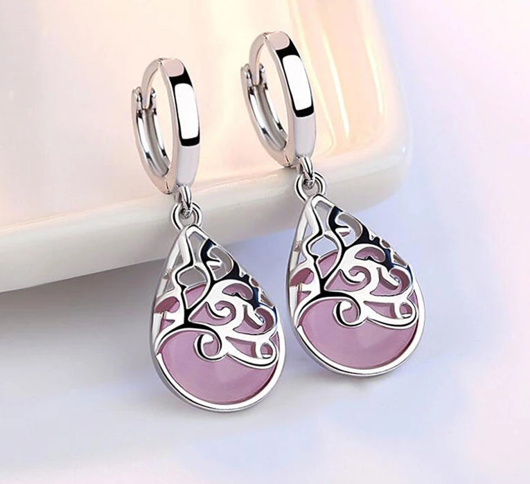 925 Sterling Silver Moonlight Opal Tears Totem Drop Earrings