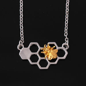 Silver Insect Bee Honeycomb Dangle Pendant Necklace