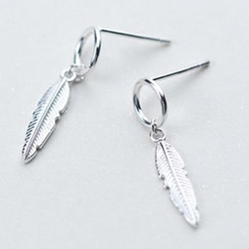 Sterling silver Tassel Earrings Charm Vintage Leaf Earrings