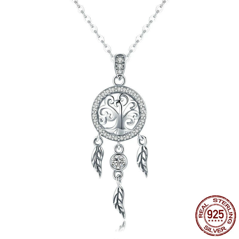 Vintage 925 Sterling Silver Life Tree & Dream-catcher Pendant Necklace