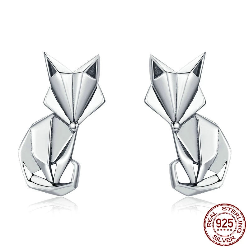 Folding Fox Stud Earrings