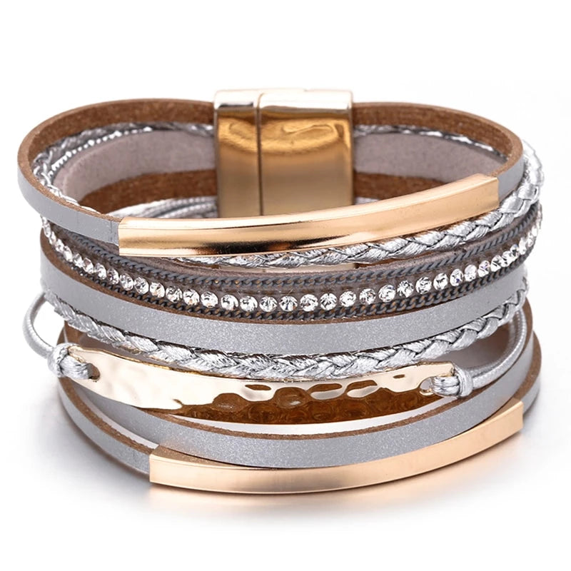 Multilayer Leather Bangle Bohemian Style