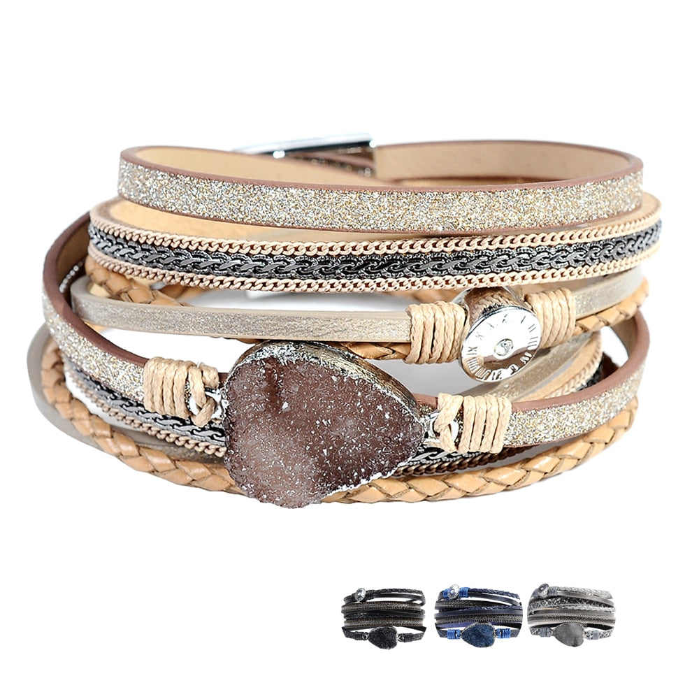 Leather bangle charm bracelet