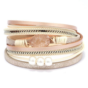 Multilayer Gem Stone Wrap Bracelet Bangle