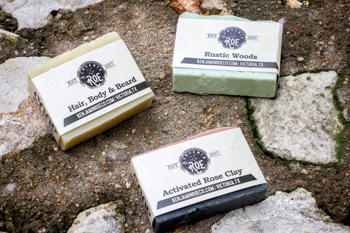 Picture of Benjamin Roe Handmade Soaps, Rustic Woods, Activated Rose Clay, Hair, Body, Beard