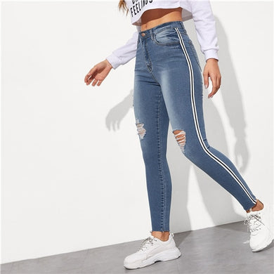 Stripe Side Ripped Jeans