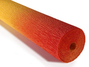 Nuanced Italian Crepe Paper 180gms, Full roll 50cm x 250cm - Orange Yellow Gradient (576/9)
