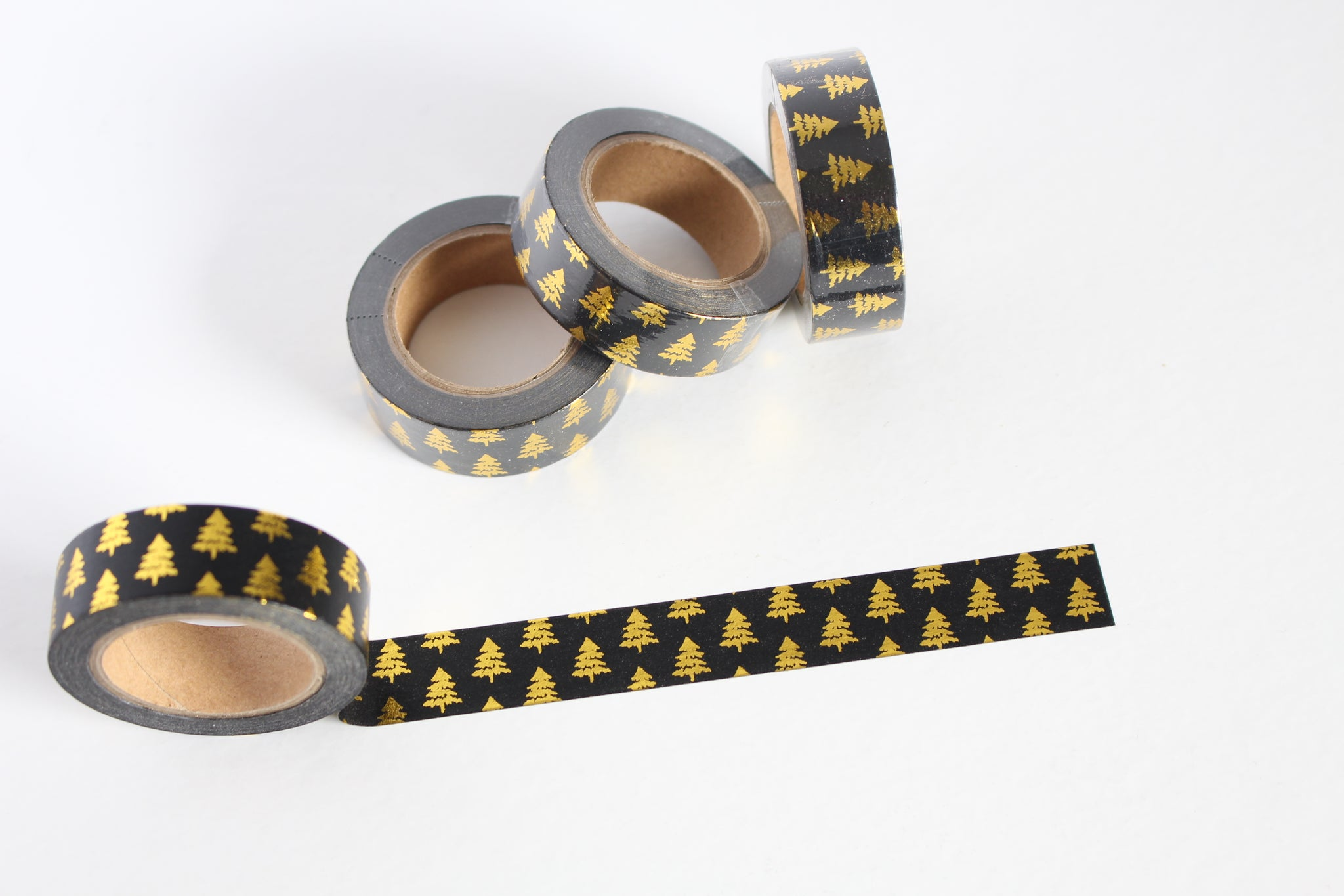 Black and Gold Foil Christmas trees washi tape