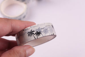 Black Coconut Palm Trees on White Washi Tape