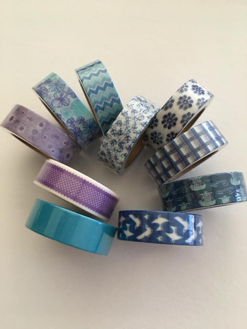 Blue and Purple Washi Tape - Set of 10