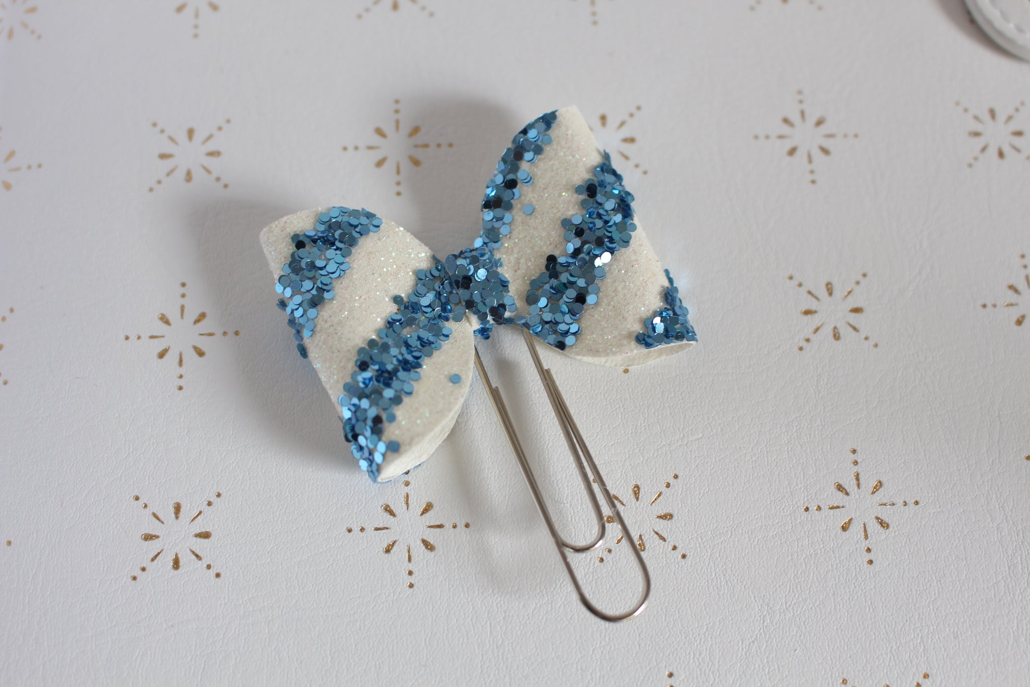Blue Glitter Stripes Planner Bow Clip