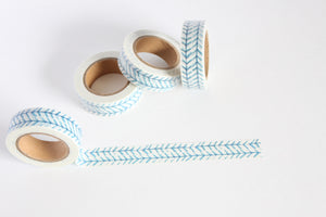 Blue Herringbone Print Washi Tape