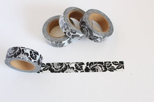 Bold Black and White Floral Washi