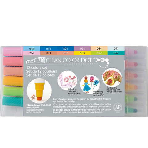 Kuretake - ZIG - CLEAN COLOR DOT Marker - Set of 12 colours