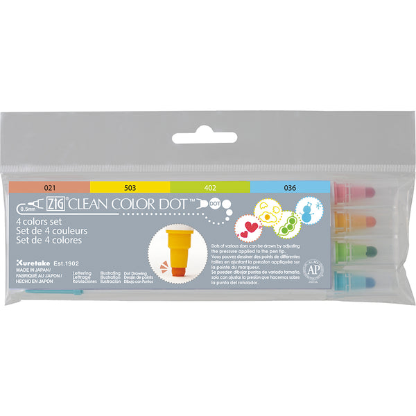 Kuretake - ZIG - CLEAN COLOR DOT Marker - Set of 4 colours