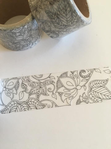 Colouring-in Botanical Print Washi Tape
