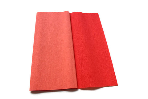 Gloria Doublette Crepe paper / Double sided crepe paper - Coral & Dark Coral