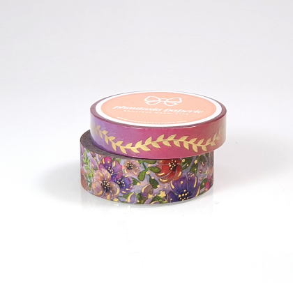 Delicate Bloom Washi Tape Duo - with Gold Foil Accents