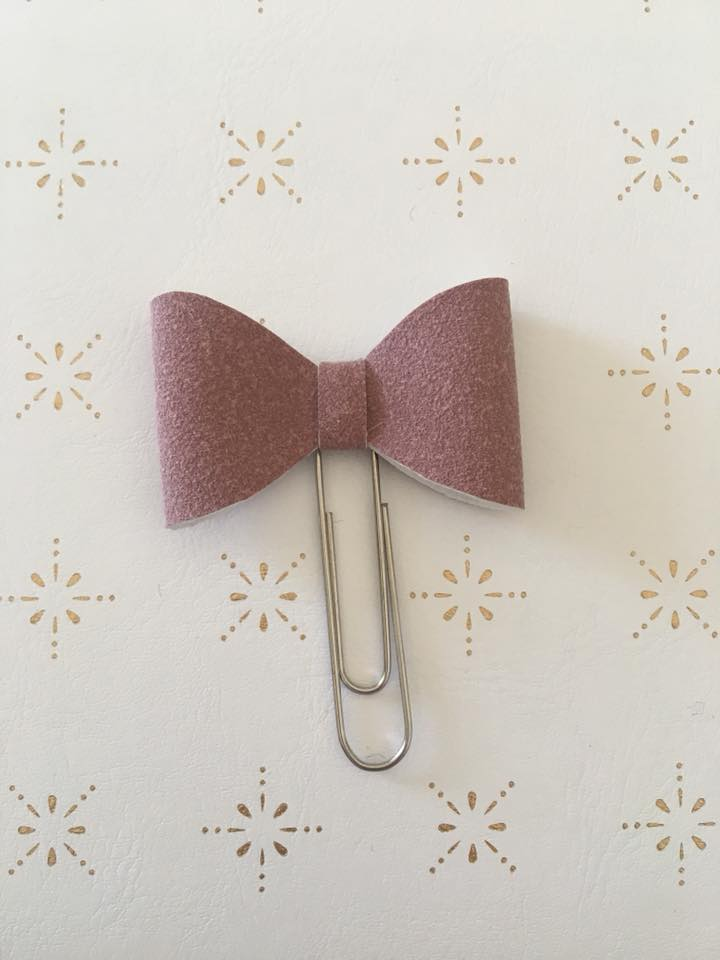 Dusty Pink Faux Suede Planner Bow Clip