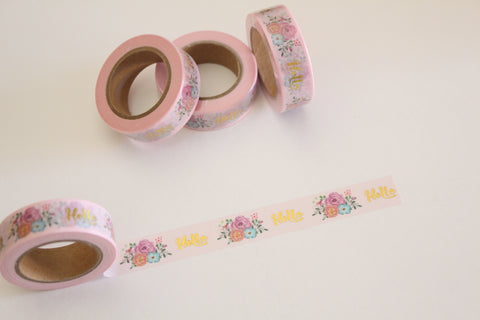 Gold foil and floral print on pale pink washi tape