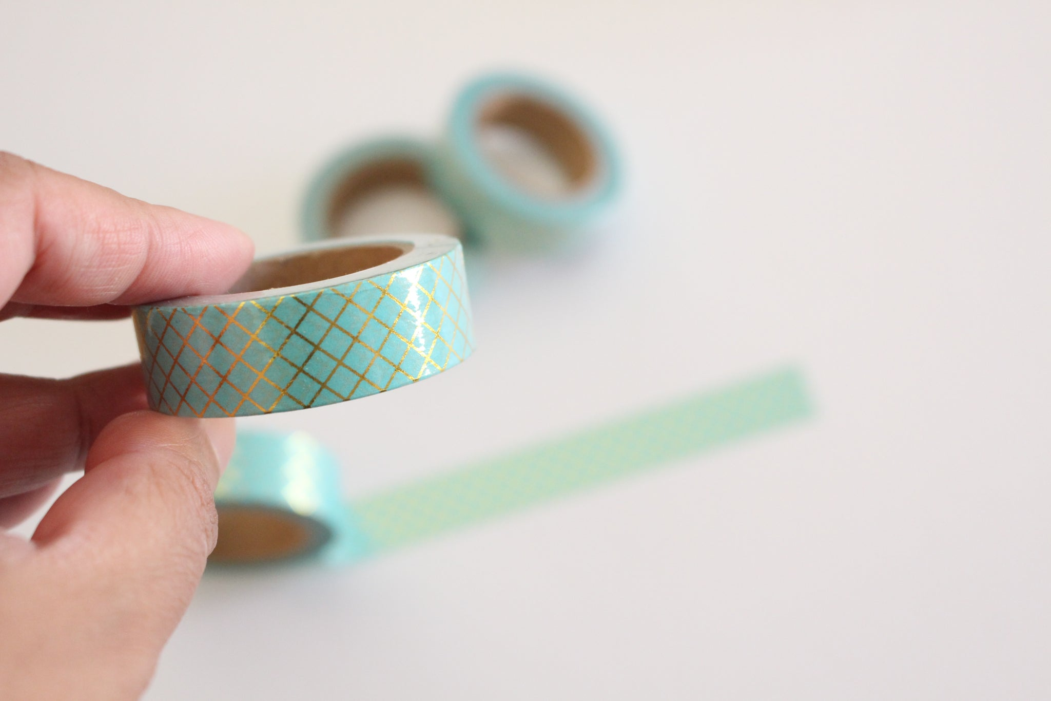 Gold foil lattice on mint washi tape