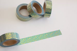 Gold foil on turquoise washi tape
