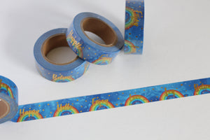 Rainbow Print Washi Tape with Gold Foil Accents