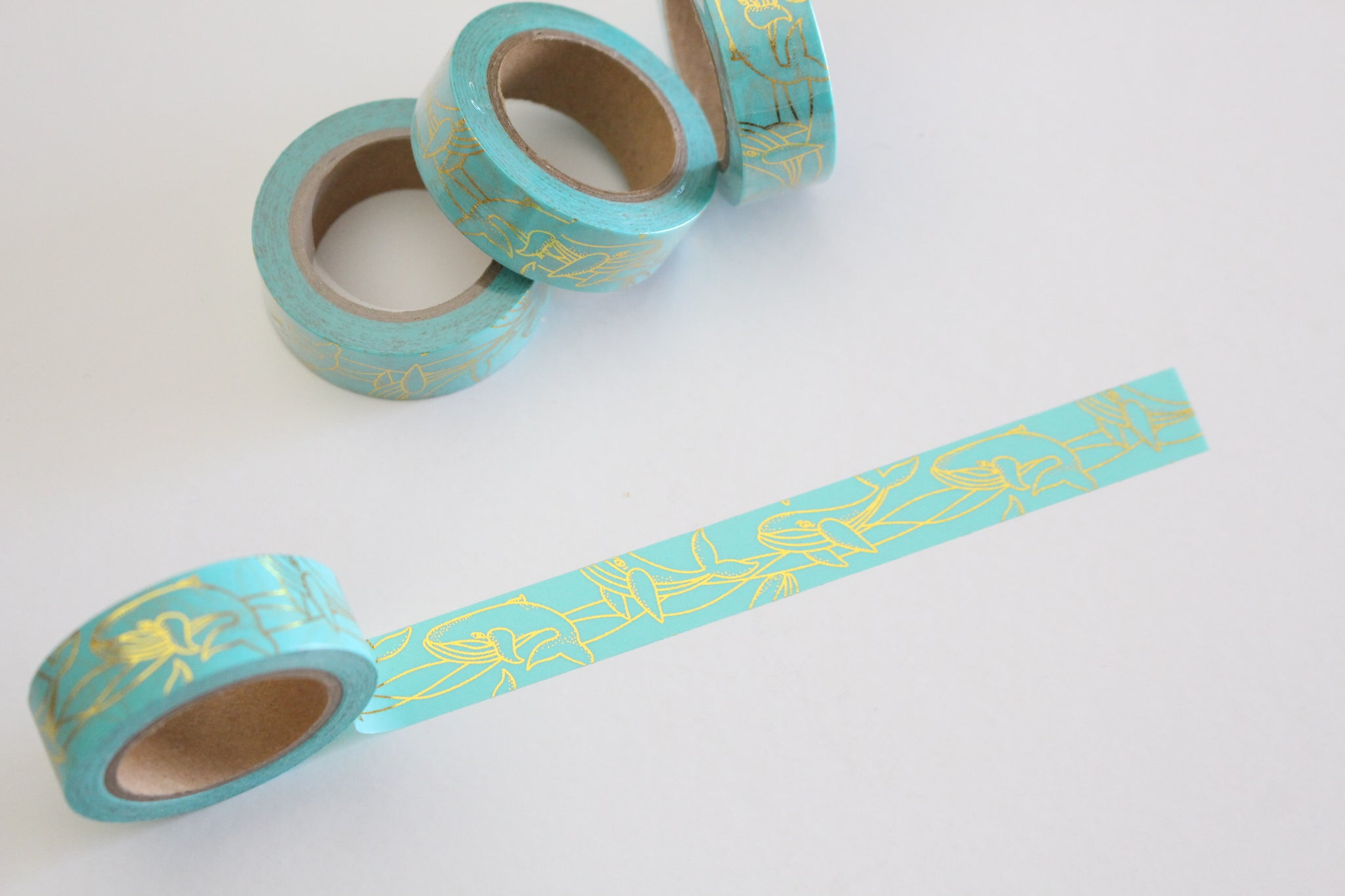 Gold foil whales on mint washi tape
