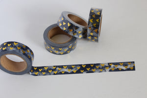 Gold Foil Hearts on Greyish Blue Washi Tape
