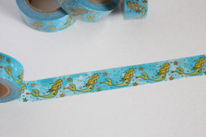 Mermaid Washi Tape with Gold Foil Accents