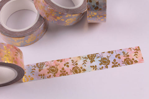 Gold Foil Roses on a Multicolour Pastel Washi Tape